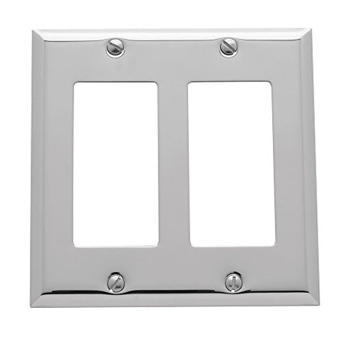 "Baldwin Estate 4741.260.CD Square Beveled Edge Double GFCI Wall Plate in Polished Chrome, 4.5"" x 4.5"" - llightsdaddy - Baldwin - Wall Plates"