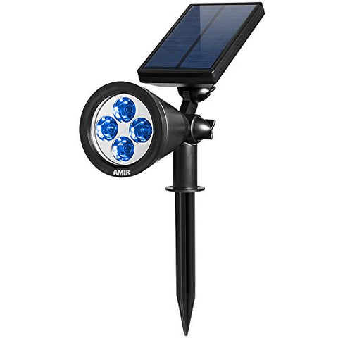 AMIR 2 in 1 Solar Spotlights, Upgraded Solar Garden Lights Outdoor, Waterproof 4 LED Landscape Lighting, Adjustable Solar Wall Lights with Auto On/Off for Yard Driveway Pathway Pool Tree Patio (Blue)