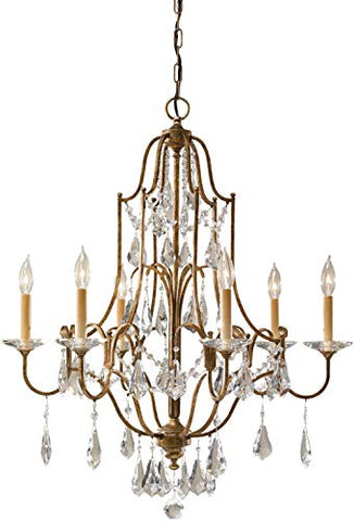 Feiss F2478/6OBZ Valentina Crystal Candle Chandelier Lighting Bronze 6-Light (29Dia x 33H) 360watts