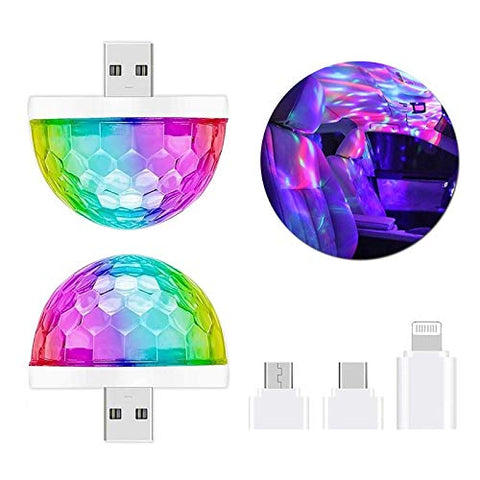 USB Mini Disco Light, 2Packs Disco Ball, Sound Activated Party Light Dj Stage Light, Strobe Lights for Parties Apply Birthday, Bar, Karaoke, Wedding Show, Xmas, Halloween, Light UP Your Life! (2-pcs)