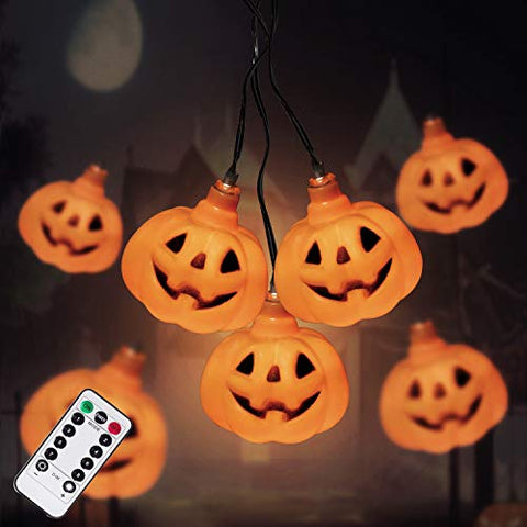 Halloween Pumpkin String Lights, 30 LED Battery Operated Decorative Lights, Waterproof Twinkle Lights for Halloween Thanksgiving Decoration (Yellow)