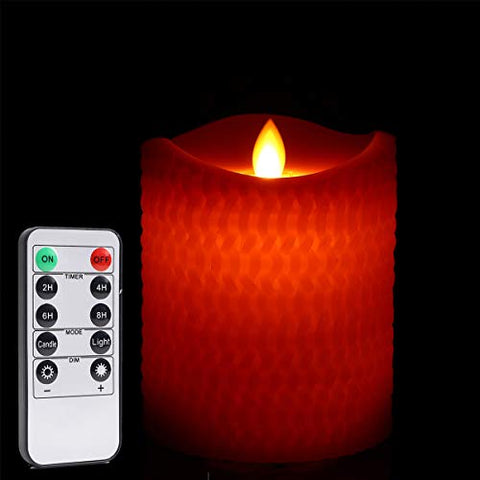 Gold Union, 1-Pack H 4'' D 3'' Wave top Flameless Candles,Rope Pattern ,Real Wax Pillar,Remote Control - llightsdaddy - Gold Union - Flameless Candles