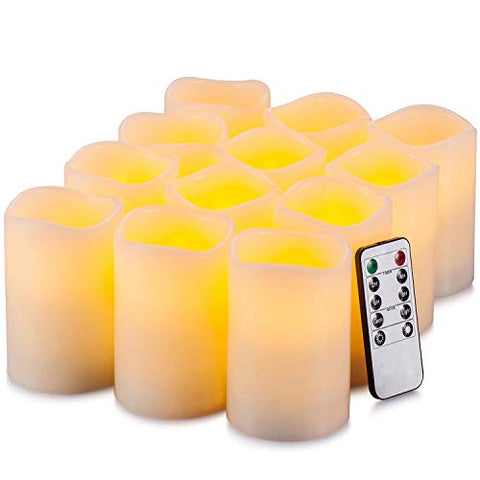 "Yutime Flameless Candle Set of 12 (D 3"" x H 4"") Battery Operated LED Pillar Real Wax Flickering Candles with Remote Control Timer - llightsdaddy - Lingyun - Flameless Candles"