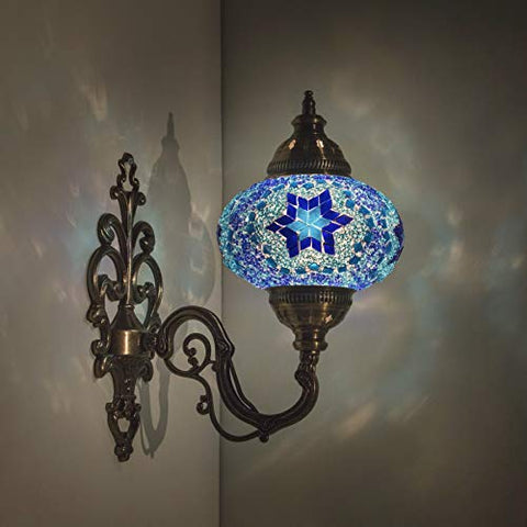 "Handmade Wall Lamp Mosaic Shade, 2019 Stunning 16.5"" Height - 7"" Globe, Turkish Moroccan Glass Lantern Arabian Bedside Home Decoration Light Bronze (Berry)"