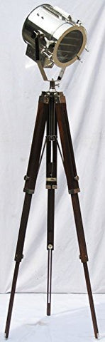 Marine Collectible Designer Maritime Spot Searchlight with Wooden tripod Studio Floor Lamp - llightsdaddy - THORINSTRUMENTS (with device) - Lamp Shades