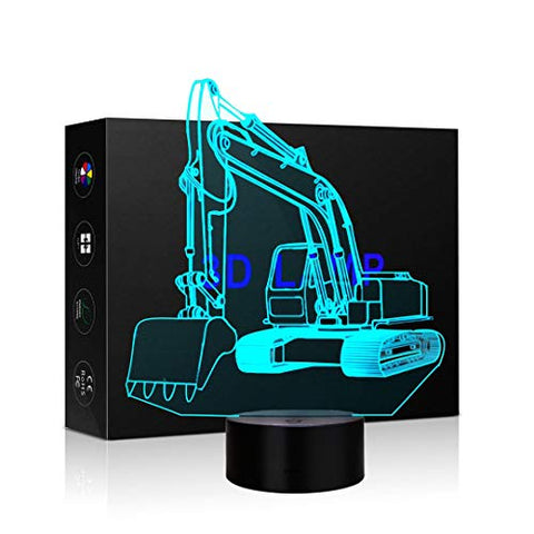 Excavator Shape 3D Lamp Optical Illusions Night Light 7 Color Change Usb Cable Touch Led Desk Table Lamp For Kids Christmas Gift
