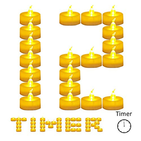 12 Pack Battery Timer Tea Lights for Christmas,6 Hours on and 18 Hours Off in 24 Hours Cycle,Warm Led Flicker Flameless Timer Candle,No fire Hazards Votive Candles for Wedding Party Christmas - llightsdaddy - Horeset - Flameless Candles