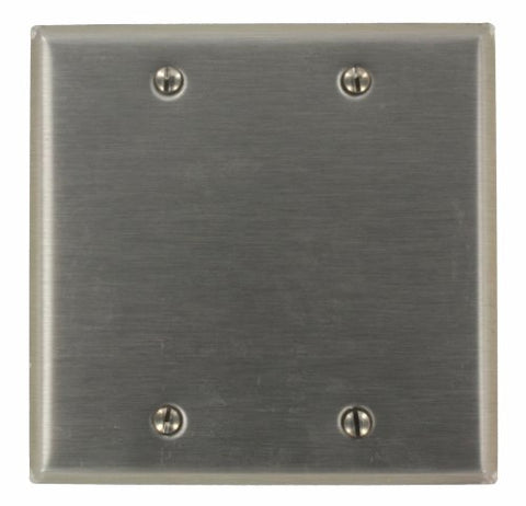 Leviton 84025-40 2-Gang No Device Blank Wallplate, Standard Size, Box Mount, Stainless Steel - llightsdaddy - Leviton - Wall Plates
