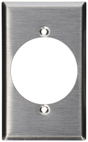 Leviton 003-84028 Receptacle Standard Size Wall Plate, 1 Gang, 4-1/2 in L X 2-3/4 in W 0.187 in T, Smooth, Stainless steel - llightsdaddy - Leviton - Wall Plates