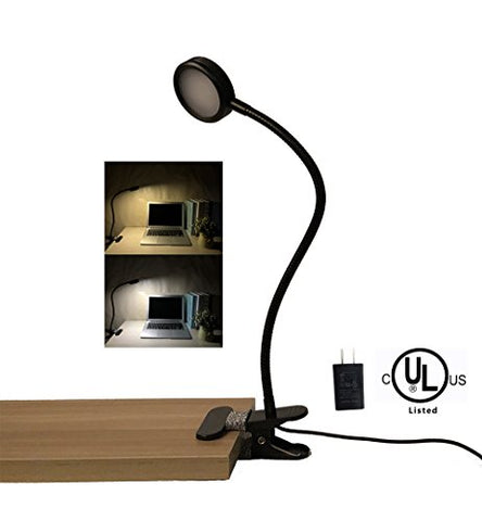 AFORTLO Clip On Light Lamp/Bed Reading Light/ 2 Color Temperature Dimmable,2-Level Brightness Dimmer/Flexible Gooseneck Night Light Clamp Lamp for Desk,Bed Headboard and Computers with UL Adapter - llightsdaddy - AFORTLO - Book Lights