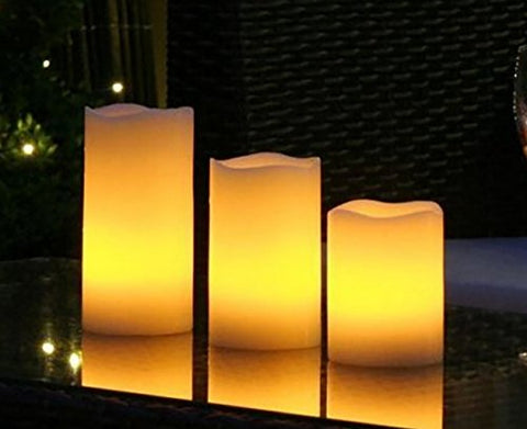 THEA Home Battery- Operated Flameless LED Remote Candle,LED Flameless Candle Lights,LED Artificial Pillar Candles Lights with Remote Control,Candle Size(3x4,3x5,3x6 inch) (Pack of 3) (White) - llightsdaddy - THEA - Flameless Candles