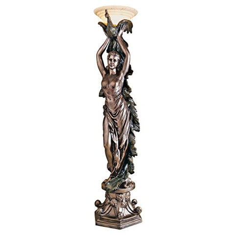 Design Toscano The Peacock Goddess Sculptural Floor Torchi脙篓re Lamp, 74 Inch, Polyresin, Bronze Verdigris Finish