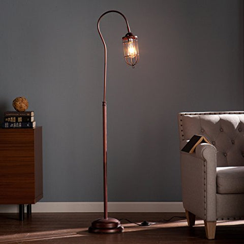 Contemporary/Reading/Modern Steel Taylon 100W Floor Lamp (OS2215TL). 6 Feet Long Cord Length. Distinctive Cage-Style Shade. In A Brushed Bronze Finish - Brown - llightsdaddy - Upton H - Lamp Shades