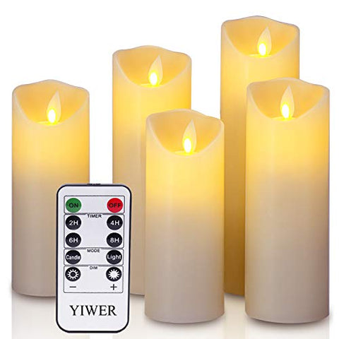 "YIWER LED Candles,5.5""/6""/6.5""/7""/8"" Set of 5 Real Wax Battery Flameless Candles Include Realistic Dancing LED Flames and 10-Key Remote Control with 2/4/6/8-hours Timer Function,300+ Hours (Ivory) - llightsdaddy - YIWER - Flameless Candles"