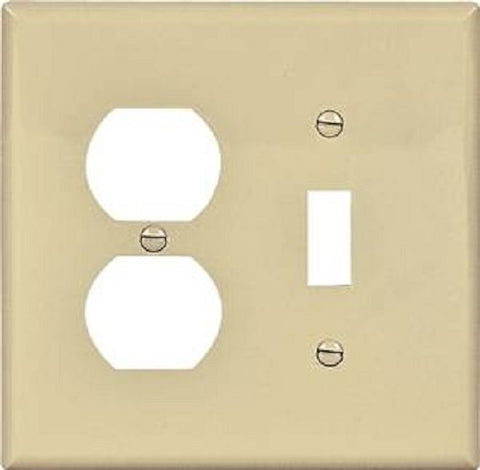 EATON Wiring 2038V Mid-Size Toggle/Duplex Receptacle Combo Thermoset Wallplate - Ivory - llightsdaddy - Eaton - Wall Plates