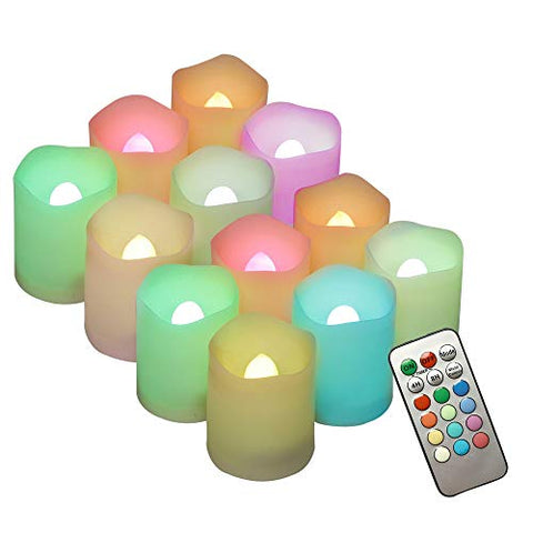 Set of 12 Flickering Flameless LED Candles with Remote and Timer Decorating Multi Color Battery Operated sall Votive and tealights Candles for Wedding Party Decorations Gifts Batteries Incl. - llightsdaddy - Forever Great - Flameless Candles