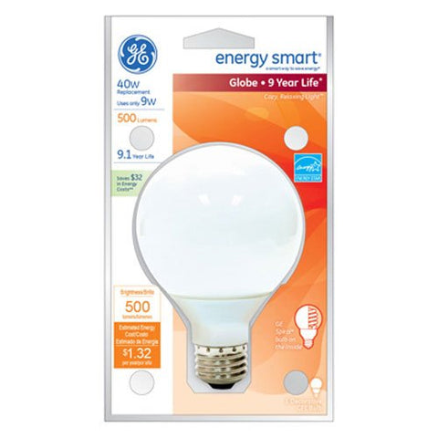 GE Lighting 47484 Energy Smart CFL 11-Watt (40-watt replacement) 500-Lumen G25 Light Bulb with Medium Base, 1-Pack