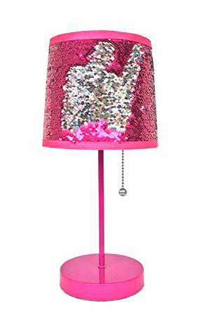 Urban Shop WK639548 Sequin Shade Table Lamp, Pink/Silver