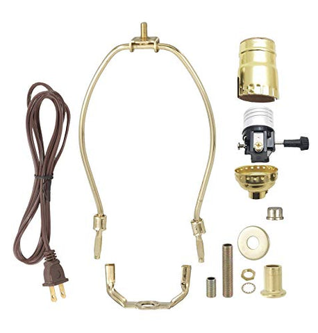 B&P Lamp Brass Plated Finish Table Lamp Wiring Kit With 9 Inch Harp, 3-Way Socket
