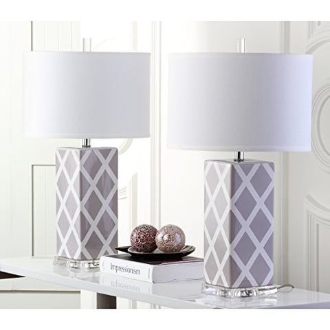 Safavieh Lighting Collection Garden Lattice Grey 27-inch Table Lamp (Set of 2)