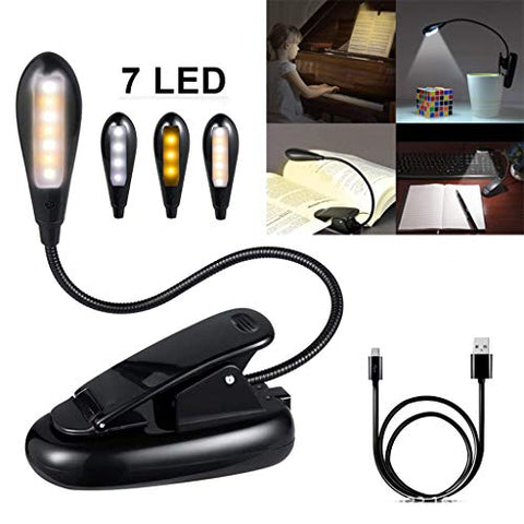 � Yu2d �� �Rechargeable 7 LED Book Light Easy Clip On Reading Lights for Reading Eye-Care - llightsdaddy - � Yu2d �_ Home & Kitchen - Book Lights