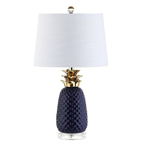 "Pineapple 23"" Ceramic LED Table Lamp, Navy/Gold, Modern, Contemporary, Bulb Included"