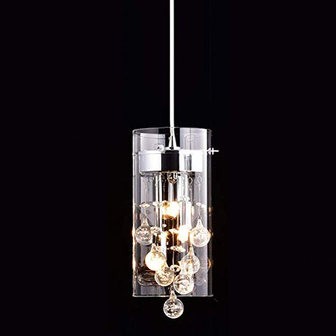 CLAXY Ecopower Mini Kitchen Island Pendant lighting Modern Glass Crystal Hanging Light Fixture