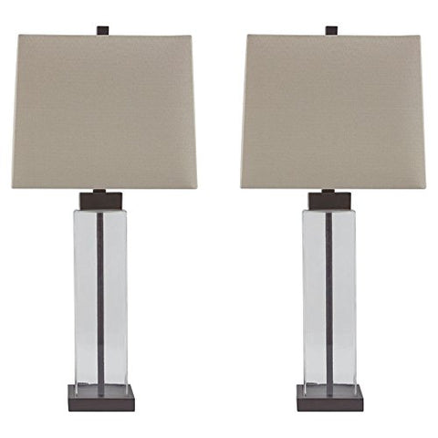 Ashley Furniture Signature Design - Alvaro Table Lamp - Set of 2 - Clear/Bronze Finish