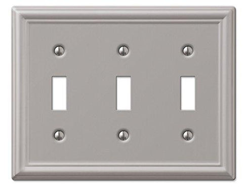 Amerelle Chelsea Triple Toggle Steel Wallplate in Brushed Nickel - llightsdaddy - Art Plates - Wall Plates