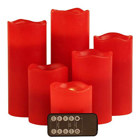 "Red Flameless LED Votive Candle Lights,Set of 6 (D3 x H 3""/4""/5""/6""/7""/8"") Realistic Flickering Electric Candles Battery Operated, Real Wax Moving Wick LED Pillar Candle Sets with Remote Control Timer - llightsdaddy - J.E.Penny - Flameless Candles"