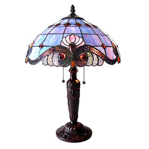 "Chloe CH15063LV15-TL2 14.5"" Shade Shelly Tiffany-Style 2 Light Victorian Table Lamp, 20.25 x 14.5 x 14.5, Multicolor"