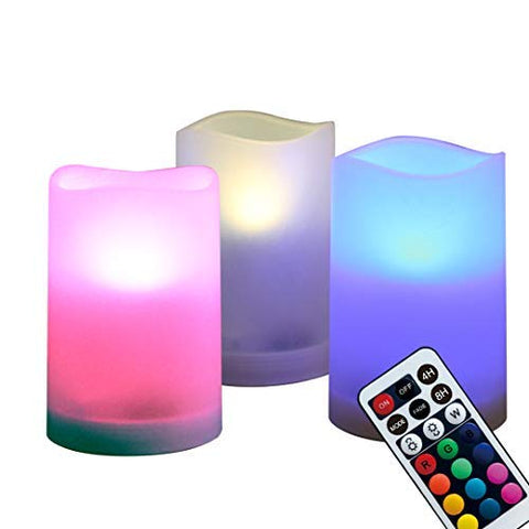 "WRalwaysLX Flameless Plastic Pillar Candles Outdoor and Indoor Decorative, Color Changing LED Flickering Candles with Remote Control and Timer, Set of 3, 2.5"" D X4 H by 3AAA Batteries(not Included) - llightsdaddy - WRalwaysLX - Flameless Candles"