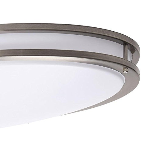 Hampton Bay 32 in. Brushed Nickel LED Oval Flush Mount
