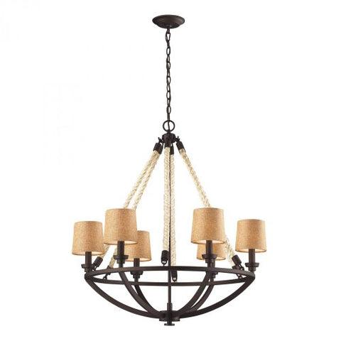 Elk 63016-6 Natural Rope 6-Light Chandelier 30 x 30 x 32 Aged Bronze Finish