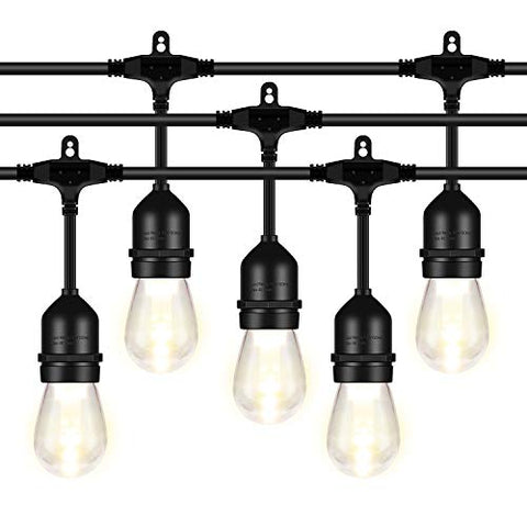 AntLux 52FT LED Outdoor String Lights - 2W Dimmable Vintage Edison Bulbs - Heavy Duty Cord 18 x E26 Hanging Sockets - Warm White Waterproof Patio Lighting for Bistro Porch Garden Backyard Party