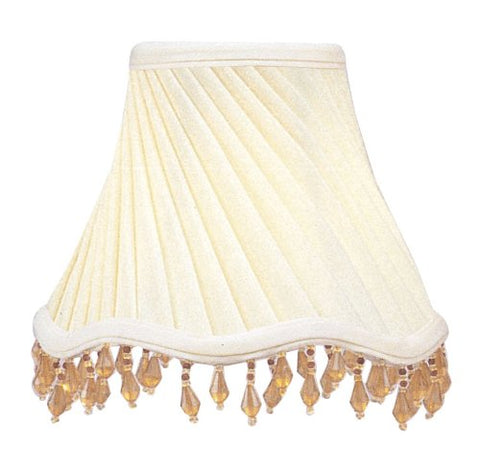 Ivory Twist Scallop Bell Clip Shade with Amber Beads - llightsdaddy - Livex Lighting - Fixture Replacement Globes & Shades