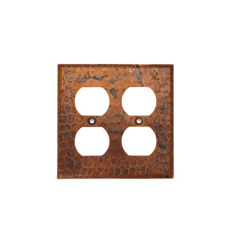 Premier Copper Products SO4 Copper Switch Plate Double Duplex with Four Hole Outlet Cover, Oil Rubbed Bronze - llightsdaddy - Premier Copper Products - Wall Plates