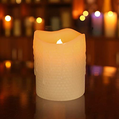 GiveU Led Candles-Melted Dripping Flickering Flameless Pillar Wax Candle with Timer,Ivory (3x4) - llightsdaddy - DFL - Flameless Candles