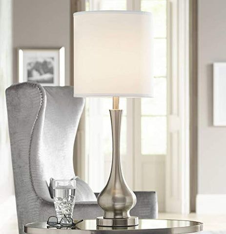 Modern Buffet Table Lamp Brushed Steel Tall Gourd White Drum Shade for Dining Room Bedroom Bedside - Possini Euro Design