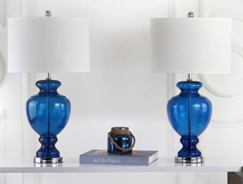 Safavieh Lighting Collection Navy Glass 28-inch Table Lamp (Set of 2)
