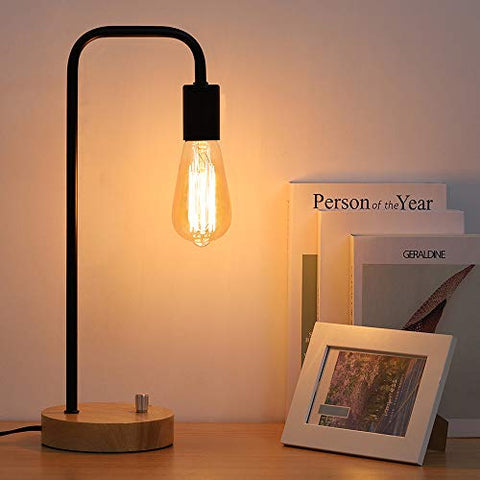 Industrial Table Lamp, Night Stand Lamp, Minimalist Wood Desk Lamp For Bedroom, Living Room, Coffee Table, Office, College Dorm - llightsdaddy - Lerro - Table Lamp