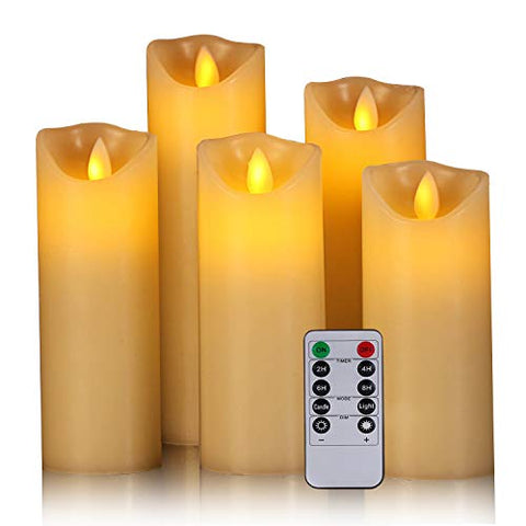 "Flameless Candles, 5"" 6"" 7"" 8"" 9"" Set of 5 Real Wax Not Plastic Pillars Include Realistic Dancing LED Flames and 10-Key Remote Control with 2/4/6/8-hours Timer Function,300+ Hours (5X1) - llightsdaddy - Zhongshan di huang trading co. LTD - Flameless Candles"