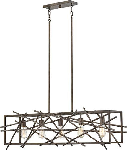 Quoizel BRH5042RT Brigham Island Chandelier, 5-Light 500 Watts, Restored Bronze