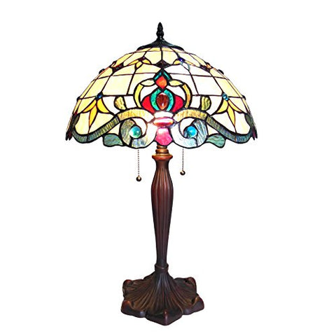 "Chloe CH18806IV16-TL2 16"" Shade Margot Tiffany-Style 2 Light Victorian Table Lamp, 24.5 x 16 x 16, Bronze"