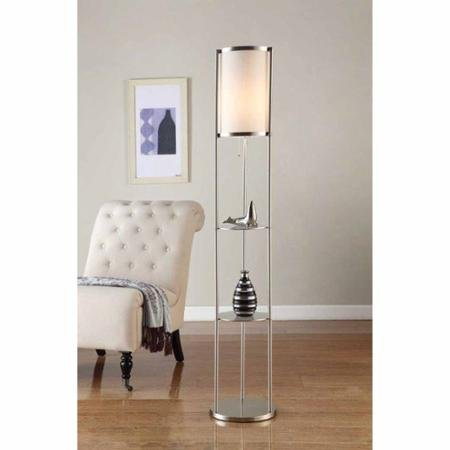 "Artiva USA 64"" Exeter Brushed Steel Shelf Floor Lamp - llightsdaddy - Supernon - Lamp Shades"