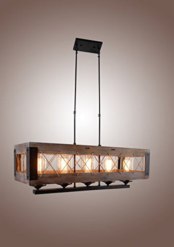 Decomust Cesto Collection Oak Wood Aged Metal Chandelier, Brown - llightsdaddy - DecoMust - Island Lights