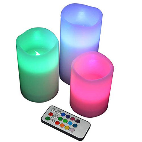 YAKii LED Flameless Wax Candle with Multi Function Remote Control,Color Changing,Timer, for Seasonal & Festival Celebration - llightsdaddy - YAKii - Flameless Candles