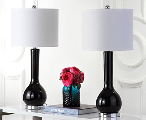 Safavieh Mae Long Neck Ceramic Table Lamp, Silver Base And Black Neck, Set of 2