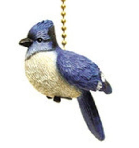 Songbird Crested Blue Jay Bird Fan Light Pull - llightsdaddy - Clementine Designs - Pull Chains