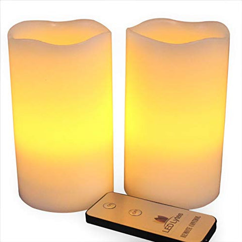 LED Lytes Flameless Candles, Battery Powered Candle Set, 2 Ivory Wax Amber Yellow Flickering Flame Pillars with Remote for Weddings, Parties and Gifts - llightsdaddy - LED Lytes - Flameless Candles